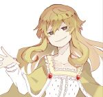 1girl @_@ bangs blonde_eyelashes blonde_hair brown_eyes collarbone colored_eyelashes evil_smile eyelashes grin isabeau_de_baviere jewelry long_hair long_sleeves magia_record:_mahou_shoujo_madoka_magica_gaiden mahou_shoujo_madoka_magica mahou_shoujo_tart_magica mature_female messy_hair poyo_75 queen royal_robe simple_background smile smirk solo white_background