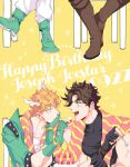 2boys battle_tendency birthday birthday_cake black_gloves blonde_hair blue_eyes boots brown_footwear brown_hair caesar_anthonio_zeppeli cake chair character_name commentary_request crossed_legs cursive dated facial_mark feather_hair_ornament feathers feeding fingerless_gloves food fruit gloves green_eyes green_footwear green_gloves green_jacket hair_ornament happy_birthday head_rest headband holding holding_food jacket jojo_no_kimyou_na_bouken joseph_joestar joseph_joestar_(young) knee_boots kock_k looking_at_another male_focus multiple_boys open_mouth pink_scarf scarf shared_scarf short_hair sitting smile star_(symbol) strawberry striped striped_scarf yellow_background