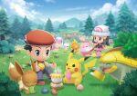 dawn_(pokemon) eating eevee grass lucas_(pokemon) pikachu pokemon pokemon_(game) pokemon_bdsp sky