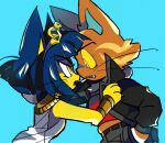2girls animal_crossing animal_ears ankha_(animal_crossing) blue_background blue_hair cat_ears cat_girl colored_sclera colored_skin egyptian_clothes furry furry_female hair_ornament jacket katt_(animal_crossing) loveycloud multiple_girls short_hair snake_hair_ornament usekh_collar whiskers yellow_fur yellow_sclera yellow_skin