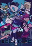 1other 3girls 4boys absurdres antlers axe beak berdly_(deltarune) blue_skin colored_skin copyright_name covered_horns deer_girl deltarune dice32ki freckles hat highres kris_(deltarune) lancer_(deltarune) looking_at_viewer multiple_boys multiple_girls noelle_holiday ojou-sama_pose pointing queen_(deltarune) ralsei scouter smile spamton_g._spamton susie_(deltarune) sword tinted_eyewear tongue tongue_out weapon wizard_hat