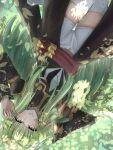 1girl absurdres bandaid bandaid_on_face bangs black_sleeves breasts c.c. code_geass dappled_sunlight detached_sleeves eyebrows_visible_through_hair green_hair hand_in_hair hands_up highres long_hair long_sleeves parted_lips sash satesate4 short_shorts shorts solo sunlight thigh-highs upside-down white_legwear white_shorts yellow_eyes