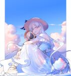 1girl absurdres anastasia_(fate) anastasia_(swimsuit_archer)_(fate) artist_name closed_eyes clouds doll dress fate/grand_order fate_(series) hat highres ice_crystal long_hair sandals shaved_ice silver_hair sime_(echo) sitting smile straw_hat sundress viy_(fate)