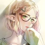 1girl alternate_costume bespectacled blonde_hair blush bright_pupils close-up collarbone commentary_request glasses green_eyes green_shirt hair_ornament hairclip hand_on_own_face indoors long_pointy_ears long_sleeves looking_at_viewer pointy_ears portrait princess_zelda shirt short_hair side_braids sleeves_past_wrists solo the_legend_of_zelda the_legend_of_zelda:_breath_of_the_wild the_legend_of_zelda:_breath_of_the_wild_2 yuina0099