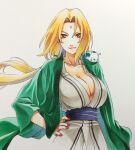 1girl bindi blonde_hair cleavage female hands_on_hips large_breasts looking_at_viewer naruto naruto_(series) naruto_shippuuden no_bra simple_background snail tsunade white_background