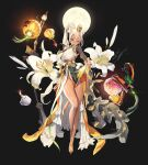 1girl animal_ears bangs belt black_background bracelet breasts brown_hair clothes_lift commentary commentary_request crown dark_skin destiny_child dress earrings flower full_body full_moon green_dress grin hair_between_eyes hand_fan high_ponytail highres holding holding_fan horns jewelry korean_clothes lantern large_breasts lifting lily_(flower) long_sleeves looking_at_viewer mona_(destiny_child) moon official_art one_eye_closed pom_pom_(clothes) ponytail punc_p ribbon shirt simple_background skirt skirt_lift smile solo standing white_dress white_flower white_hair white_lily white_ribbon yellow_dress