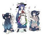 2girls bangs barefoot black_footwear blue_bow blue_eyes blue_hair blue_skirt boots bow bowl center_frills crossed_arms dark_blue_hair debt folding_fan frilled_skirt frills fruit_hat_ornament full_body gradient_hair hair_between_eyes hair_bow hand_fan highres hinanawi_tenshi holding holding_fan hood hoodie kneeling long_hair motion_lines multicolored_hair multiple_girls open_mouth peach_hat_ornament peroponesosu. puffy_short_sleeves puffy_sleeves rainbow_order red_neckwear red_ribbon ribbon shirt short_sleeves skirt smile smug sparkle sparkling_eyes standing touhou two-tone_hair v-shaped_eyebrows white_shirt yorigami_shion