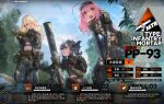 3girls ammunition artist_request belt bird black_gloves blonde_hair blue_hair blue_sky breasts brown_eyes character_name commentary_request eyebrows_visible_through_hair from_below girls_frontline gloves hair_ornament headphones highres holding long_hair looking_at_another looking_at_viewer medium_breasts medium_hair mortar_(weapon) multicolored_hair multiple_girls navel official_art open_mouth pink_hair pp-93_(girls'_frontline) side_ponytail sitting sky small_breasts smile standing tactical_clothes uniform weapon yellow_eyes