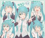 1girl :q ^_^ absurdres aqua_hair bangs black_skirt blush breasts clenched_hands closed_eyes finger_to_own_chin fingers_together foreshortening hair_between_eyes hands_on_own_cheeks hands_on_own_face hands_up happy hatsune_miku highres long_hair long_sleeves multiple_views one_eye_closed own_hands_together pleated_skirt skirt small_breasts smile tears tokkyu tongue tongue_out translation_request twintails v very_long_hair vocaloid