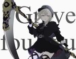 1girl alternate_costume bangs belt belt_buckle black_capelet black_dress black_gloves black_headwear breasts buckle cabbie_hat capelet chiri_to_mato commentary_request dated dress english_text eyebrows_visible_through_hair fate_(series) gloves gray_(fate) grey_belt grey_hair grey_neckwear hair_between_eyes hat highres holding holding_scythe holding_weapon long_sleeves looking_at_viewer lord_el-melloi_ii_case_files medium_breasts necktie parted_lips scythe sidelocks signature weapon white_background yellow_eyes