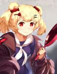1girl animal_ears arknights bangs bear_ears blonde_hair breasts brown_jacket candy_hair_ornament commentary_request food-themed_hair_ornament frying_pan grey_background gummy_(arknights) hair_ornament holding holding_frying_pan jacket junshi_(junbox) long_sleeves looking_at_viewer medium_breasts off_shoulder open_clothes open_jacket purple_shirt red_eyes sailor_collar sailor_shirt shirt short_hair solo twintails upper_body white_sailor_collar