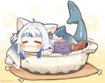 1girl :3 =_= ahoge animal_ears bangs blue_hair blunt_bangs blush_stickers cat_ears chibi closed_eyes commentary fish_tail gawr_gura hair_ornament hairclip halo highres hololive hololive_english hotpot in_container long_sleeves multicolored_hair pot same_anko shark_tail shiitake shrimp simple_background smile streaked_hair symbol-only_commentary tail tako_(ninomae_ina'nis) twitter_username two_side_up virtual_youtuber white_background white_hair wide_sleeves