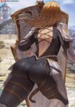 1girl armor ass back back_cutout black_bodysuit blonde_hair blue_sky blurry blurry_background bodysuit clothing_cutout clouds criss-cross_back-straps facing_away from_behind highres kisara_(tales) leg_armor long_hair outdoors patreon_username pauldrons see-through shexyo shield shoulder_armor sky solo tales_of_(series) tales_of_arise thighs