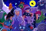 2girls :d absurdres asatsuki_(fgfff) bangs bellossom blue_eyes character_request commentary_request dress feebas gengar grovyle hand_up hat highres holding larvitar long_hair long_sleeves marshtomp moon multiple_girls night nosepass open_mouth outdoors pokemon pokemon_(creature) poliwhirl purple_shirt sableye shirt sky smile tongue torchic