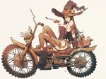 1girl bare_shoulders black_hair blue_eyes boots bracelet breasts bustier fingerless_gloves gloves ground_vehicle hat highres holster jewelry kuroimori leotard long_hair looking_at_viewer medium_breasts mole mole_under_eye motor_vehicle motorcycle original pipe sitting solo thigh-highs thigh_holster torn_clothes torn_legwear white_background witch_hat
