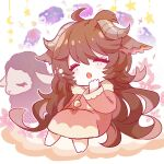 1girl :o ahoge animal animal_ears arknights bangs barefoot blush_stickers brown_hair chibi closed_eyes commentary_request crescent dress eyjafjalla_(arknights) full_body hair_between_eyes highres horns long_hair long_sleeves open_mouth pink_dress sheep sheep_ears sheep_girl sheep_horns solo star_(symbol) very_long_hair xroxxro