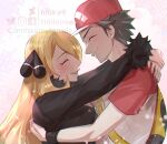 1boy 1girl backpack bag baseball_cap black_coat blonde_hair blush closed_eyes closed_mouth coat commentary commission cynthia_(pokemon) from_side fur-trimmed_coat fur_trim hair_ornament hat hetero long_hair long_sleeves open_mouth pokemon pokemon_(game) pokemon_dppt pokemon_sm red_(pokemon) red_headwear second-party_source shirt short_hair short_sleeves smile t-shirt tidi_levee tongue upper_body upper_teeth watermark yellow_bag