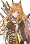 1girl animal_ears arknights bangs brown_hair ceobe_(arknights) closed_mouth cundang dog_ears dog_girl hair_between_eyes jacket long_hair long_sleeves looking_at_viewer simple_background smile solo violet_eyes weapon weapon_on_back white_background