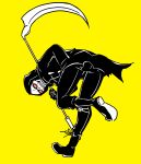 1boy bent_over coke-bottle_glasses full_body glasses golf_club hand_in_pocket holding kyuu_(ost) let_it_die looking_back male_focus opaque_glasses scythe simple_background skeleton solo standing standing_on_one_leg uncle_death yellow_background