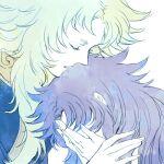2boys aries_shion closed_eyes forgiveness gemini_saga hands_on_own_face hikimayu long_hair male_only memessa saint_seiya