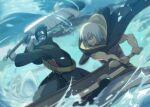2boys battle blue_hair duel fight fighting giant_sword grin hide_(hideout) hideout_hide hoshigaki_kisame hozuki_suigetsu naruto naruto_(series) naruto_shippuuden shark smile sword swordsman white_hair