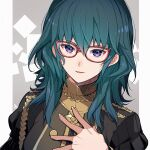 1girl alternate_costume bangs blue_hair blush buttons byleth_(fire_emblem) byleth_eisner_(female) commentary_request epaulettes fire_emblem fire_emblem:_three_houses garreg_mach_monastery_uniform glasses hair_between_eyes hand_on_own_chest highres juliet_sleeves long_hair long_sleeves looking_at_viewer nakabayashi_zun official_alternate_costume parted_lips puffy_sleeves red-framed_eyewear signature smile solo uniform upper_body violet_eyes