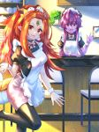 2girls :d apron black_horns bow chair colored_skin cup dragon_tail forehead_jewel horns indoors long_hair maid_apron ming_(mg) multiple_girls open_mouth orange_hair original pantyhose pink_bow plant pointy_ears potted_plant purple_hair purple_skin red_eyes saubupo shelf short_sleeves smile standing standing_on_one_leg tail waitress waving wrist_cuffs yong_(mg)