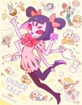 2others 3boys 6+girls alphys anniversary annoying_dog arthropod_girl black_hair black_legwear blush bone bow bug candy cape checkerboard_cookie chibi cookie copyright_name croissant cup doughnut dress extra_arms flowey_(undertale) food frisk_(undertale) ghost goat hat heart highres holding_own_foot in_container jacket jar kekorin5 lizard lollipop macaron mettaton monster_kid_(undertale) muffet multiple_boys multiple_girls multiple_others napstablook papyrus_(undertale) pink_bow ponytail pouring puffy_short_sleeves puffy_sleeves red_eyes robot sans short_sleeves short_twintails spider spider_girl sugar_cube teacup teapot temmie toriel twintails undertale undyne