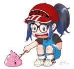 1girl black_hair blue_hair commentary cosplay dated dr._slump english_commentary full_body glasses hat kivo kson multicolored_hair norimaki_arale norimaki_arale_(cosplay) open_mouth overalls ponytail real_life red_headwear signature smile solo squatting stick streaked_hair transparent_background two-tone_hair violet_eyes