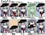 2girls akatsuki_(kancolle) alternate_hair_length alternate_hairstyle anchor_symbol androgynous artist_name bangs bar_censor black_headwear black_sailor_collar blue_eyes censored character_name cigarette closed_eyes closed_mouth dot_mouth double_v emphasis_lines eyebrows_visible_through_hair face_of_the_people_who_sank_all_their_money_into_the_fx flat_cap grey_hair hat hibiki_(kancolle) jaggy_line kaeruyama_yoshitaka kantai_collection long_hair long_sleeves lowres meme mouth_hold multiple_girls multiple_views neckerchief parted_lips red_neckwear sailor_collar school_uniform serafuku signature silver_hair smile smoking sparkle translation_request v v-shaped_eyebrows variations