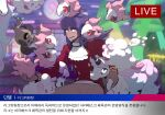 1boy bangs bright_pupils brown_pants building buttons commentary_request dark-skinned_male dark_skin facial_hair galarian_form galarian_ponyta galarian_rapidash highres holding holding_pokemon jabot korean_commentary korean_text leon_(pokemon) livestream long_hair lower_teeth male_focus night open_mouth outdoors pants phantump pokemon pokemon_(creature) pokemon_(game) pokemon_gym pokemon_swsh purple_hair redlhzz smile spritzee swirlix tailcoat translation_request white_neckwear white_pupils yellow_eyes