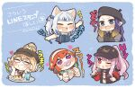 5girls :3 :d ;o ^_^ animal_ears aqua_hair baseball_cap beret black_headwear blonde_hair blue_background blue_hair blush_stickers bubba_(watson_amelia) cat_ears chibi clenched_hands closed_eyes commentary_request eyebrows_visible_through_hair fang food gawr_gura glasses grin hairband hat heart hololive hololive_english holomyth long_hair mori_calliope multicolored_hair multiple_girls ninomae_ina'nis official_alternate_costume one_eye_closed open_mouth orange_hair pacifier pink_hair pointy_ears ponytail pudding purple_hair same_anko sharp_teeth short_hair sidelocks simple_background smile smug spoon streaked_hair takanashi_kiara teeth translation_request twitter_username two-tone_hair v-shaped_eyebrows virtual_youtuber watson_amelia white_hair white_hairband