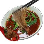 bowl chili_pepper chopsticks commentary english_commentary food food_focus no_humans noodles original shiny simple_background soup spoon spring_onion studiolg vegetable white_background