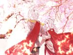 1boy 1girl back cape cherry_blossoms couple floating_hair fur_cape fur_collar glint grey_hair high_ponytail highres light_particles light_rays locked_arms looking_at_another petals prophet_of_water red_cape sky:_children_of_the_light sky_child spinning_mentor sunbeam sunlight