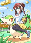 1girl absurdres bangs black_legwear blue_eyes blush bow breasts bright_pupils brown_hair closed_mouth clouds coin commentary_request day double_bun fence flying_sweatdrops grass highres legwear_under_shorts long_hair merugamu_melgum outdoors pantyhose pink_bow pokemon pokemon_(creature) pokemon_(game) pokemon_bw2 raglan_sleeves riding riding_pokemon rosa_(pokemon) shirt shoes short_shorts shorts sign sitting sky smile sneakers snivy super_mario_bros. tongue tongue_out tree twintails visor_cap white_pupils yellow_shorts