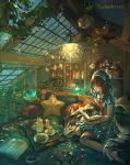 1girl animal blurry blurry_foreground book brown_hair ceiling_light close-up commentary cookie cup dog dress english_commentary fisheye food hairband highres indoors light long_hair looking_at_object medium_dress original pillow plant rain reading scenery short_sleeves sitting star_(symbol) teacup teapot tray water watermark web_address wenqing_yan window