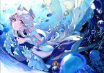 1girl bangs blunt_bangs bubble clownfish frills genshin_impact gloves hair_ornament ice_(icepuli) jellyfish long_hair long_sleeves looking_at_viewer nature ocean parted_lips pink_hair sangonomiya_kokomi underwater violet_eyes water