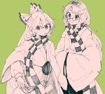 2girls amulet bangs black_bow black_eyes black_neckwear black_scarf black_skirt bow closed_mouth eyebrows_visible_through_hair fujiwara_no_mokou futatsuiwa_mamizou futatsuiwa_mamizou_(human) glasses green_background grey_eyes hair_between_eyes hair_ornament hands_together hands_up itomugi-kun japanese_clothes leaf leaf_hair_ornament long_hair long_sleeves looking_at_another looking_down looking_to_the_side multiple_girls open_mouth pink_hair pink_neckwear pink_scarf pink_shirt pink_sleeves plaid plaid_scarf pom_pom_(clothes) ponytail puffy_long_sleeves puffy_sleeves scarf shirt simple_background skirt smile touhou white_bow wide_sleeves