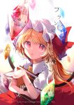 1girl apron artist_name ascot bangs black_choker black_neckwear blonde_hair blue_hair blue_shirt blurry blurry_background book bow choker closed_mouth collar collared_dress crystal dress eyebrows_visible_through_hair flandre_scarlet gem glasses hair_between_eyes hand_up hat hat_ribbon highres jewelry light long_hair long_sleeves looking_at_viewer looking_up mob_cap morichika_rinnosuke motoori_kosuzu multicolored multicolored_wings one_side_up open_mouth orange_hair patchouli_knowledge pink_dress pink_eyes pink_headwear pink_sleeves plaid plaid_dress puffy_short_sleeves puffy_sleeves purple_hair red_bow red_dress red_eyes red_nails red_neckwear red_ribbon remilia_scarlet ribbon risui_(suzu_rks) shadow shirt short_hair short_sleeves short_twintails silver_hair smile solo touhou twintails white_background white_headwear white_sleeves wings yellow_apron yellow_dress yellow_eyes yellow_neckwear
