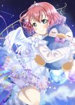 1girl absurdres angel_wings bangs birthday blush commentary curly_hair eyebrows_visible_through_hair green_eyes hair_ornament highres holding holding_stuffed_toy kurosawa_ruby looking_at_viewer love_live! love_live!_school_idol_festival_all_stars love_live!_sunshine!! night night_sky object_hug ranemu redhead shooting_star short_hair sidelocks sky solo star_(sky) star_(symbol) star_hair_ornament starry_sky stuffed_animal stuffed_penguin stuffed_toy tiara wings