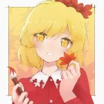 1girl aki_shizuha bangs blonde_hair blush border buttons clothing_cutout commentary_request dress eyebrows_visible_through_hair gbcolor_(naza) hair_between_eyes hair_ornament hands_up head_tilt holding holding_leaf holding_paintbrush leaf leaf_hair_ornament light_smile looking_to_the_side outside_border paintbrush parted_lips red_dress short_hair solo touhou upper_body white_border wing_collar yellow_eyes