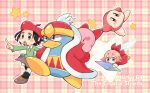 1boy 2girls 2others adeleine beak bird brown_footwear checkered checkered_background crystal_shard dress english_text fairy_wings flying furrowed_brow green_shirt grey_skirt holding_on king_dedede kirby kirby_(series) kirby_64 long_sleeves midooka_(o_k_k) multiple_girls multiple_others open_mouth penguin pointing red_dress red_headwear red_robe ribbon ribbon_(kirby) running shirt skirt star_(symbol) teeth waddle_dee walking wings