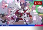 1boy ;d alcremie alcremie_(strawberry_sweet) bangs blurry buttons commentary_request dark-skinned_male dark_skin facial_hair galarian_form galarian_ponyta galarian_rapidash half-closed_eye highres jabot korean_commentary korean_text leon_(pokemon) livestream long_hair male_focus morelull night one_eye_closed open_mouth outdoors pants phantump pokemon pokemon_(creature) pokemon_(game) pokemon_gym pokemon_swsh purple_hair redlhzz smile spritzee swirlix tailcoat teeth translation_request white_neckwear yellow_eyes