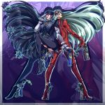 2girls adjusting_eyewear awesometomato18 bayonetta bayonetta_(series) bayonetta_2 black_bodysuit black_hair bodysuit earrings facing_away facing_viewer full_body glasses goggles goggles_on_head gun high_heels highres holding holding_gun holding_weapon jeanne_(bayonetta) jewelry looking_at_viewer looking_back mole mole_under_mouth multiple_girls parted_lips platinum_blonde_hair red_bodysuit tongue tongue_out weapon