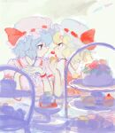 2girls archived_source backlighting bangs blonde_hair blue_hair cake cherry closed_mouth cream cream_on_face dessert drawr eating elbow_rest elbows_on_table expressionless eye_contact face-to-face flandre_scarlet food food_in_mouth food_on_face frilled_cuffs frilled_hat frilled_shirt_collar frilled_sleeves frills from_side fruit hand_up hands_up hat holding holding_cake holding_food light_blue_hair looking_at_another mob_cap multiple_girls oekaki outdoors own_hands_clasped own_hands_together pink_headwear profile puffy_short_sleeves puffy_sleeves red_eyes red_ribbon remilia_scarlet ribbon ribbon-trimmed_headwear ribbon_trim short_hair short_sleeves shortcake siblings sisters sweets table tiered_tray touhou upper_body wavy_hair whipped_cream white_headwear wrist_cuffs yellow_neckwear yu_(yukiri)