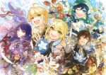 3boys 3girls aether_(genshin_impact) ahoge androgynous bangs bird_mask black_gloves black_hair blonde_hair blue_flower blue_hair bouquet bow braid brooch brown_hair closed_eyes closed_mouth collared_shirt commentary_request constellation corset earrings eyeliner feather_earrings feathers flower formal gem genshin_impact glaze_lily gloves gradient_hair green_eyes hair_between_eyes hair_flower hair_ornament halo hat hat_flower highres instntmssl jacket japanese_clothes jewelry kimono leaf long_hair long_sleeves looking_at_viewer lumine_(genshin_impact) makeup mask mole mole_under_eye multicolored_hair multiple_boys multiple_girls necktie one_eye_closed open_mouth orange_hair paimon_(genshin_impact) ponytail purple_hair raiden_shogun red_flower shirt short_hair_with_long_locks sidelocks single_earring smile suit tassel tassel_earrings thigh-highs twin_braids venti_(genshin_impact) violet_eyes white_flower white_hair yellow_eyes yellow_flower zhongli_(genshin_impact)