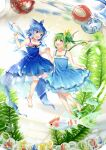 2girls ball bangs bare_shoulders barefoot blue_bow blue_dress blue_eyes blue_hair bow cirno daiyousei dress eyebrows_visible_through_hair fairy_wings fish flower flying green_eyes green_hair hair_between_eyes hair_bow hand_up hands_together hands_up ice ice_wings kapuchii leaf looking_at_another multiple_girls open_mouth pink_flower plant ponytail red_bow sand short_hair sleeveless smile touhou wings yellow_bow