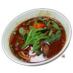bowl chili_pepper commentary english_commentary food food_focus no_humans original shiny simple_background soup spring_onion studiolg vegetable white_background