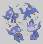 commentary_request eating grey_background hatted_pokemon head_back holding kikuyoshi_(tracco) litwick looking_at_viewer multiple_views no_humans open_mouth pokemon sableye sharp_teeth signature smile standing teeth toes