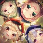 4girls :d ahoge animal_ears animal_hood bangs bangs_pinned_back bitseon black_scarf blunt_bangs blurry blush brown_scarf cabbie_hat cat_ears cat_girl close-up clover_print coin_hair_ornament commentary depth_of_field diona_(genshin_impact) english_commentary eyebrows_visible_through_hair fake_animal_ears fang forehead from_below genshin_impact green_eyes hair_between_eyes hair_ribbon hat hat_feather hat_ornament highres hood japanese_clothes jiangshi klee_(genshin_impact) light_brown_hair long_hair looking_at_viewer looking_down low_twintails multiple_girls ninja ofuda open_mouth orange_eyes pink_hair pointy_ears purple_hair qing_guanmao qiqi_(genshin_impact) red_headwear ribbon sayu_(genshin_impact) scarf short_hair shuriken sidelocks silver_hair smile thick_eyebrows twintails violet_eyes vision_(genshin_impact) weapon